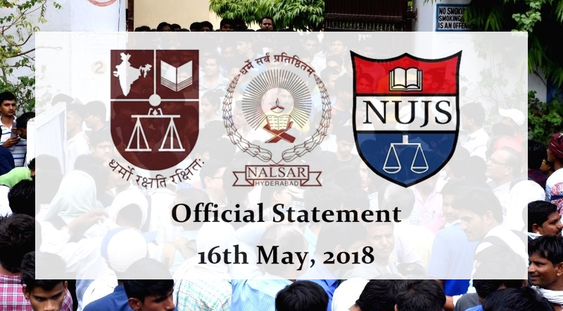 NLS, NALSAR, NUJS on CLAT 2018